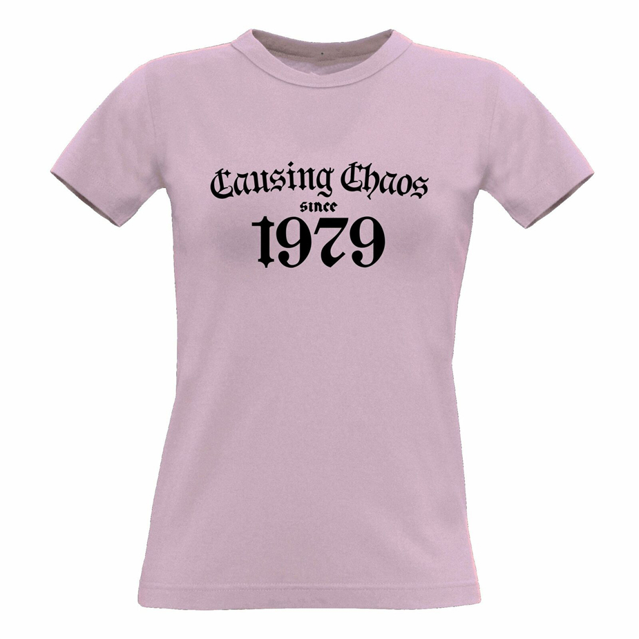 40Th Birthday Womens <font><b>Tshirt</b></font> Causing Chaos Since <font><b>1979</b></font> Forty Years Old Gift Idea New Funny Tee Shirt image