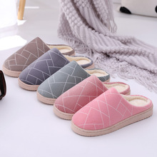Simple geometric indoor shoes for men and women couples wooden floor winter warm non-slip autumn cotton slippers