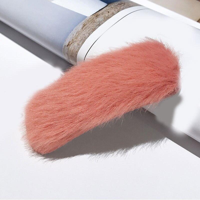 1 шт. искусственный мех капли квадратные заколки для волос шпильки с плюшевыми шариками осень зима мягкие однотонные заколки аксессуары для волос Зажимы для челки - Цвет: 15
