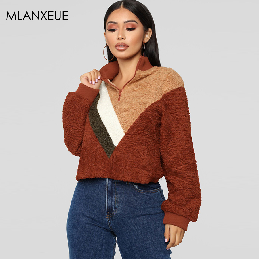 Vintage Warm Sweatshirt Women Hoodies Autumn Winter Pullovers Vogue Patchwork Casual Ladies Sweatshirts Korean Long Sleeve Tops