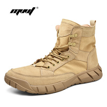 Top Quality Men Boots Leather With Canvas Tactical Desert Combat High Wear-resisting Ankle Outdoor Shoes