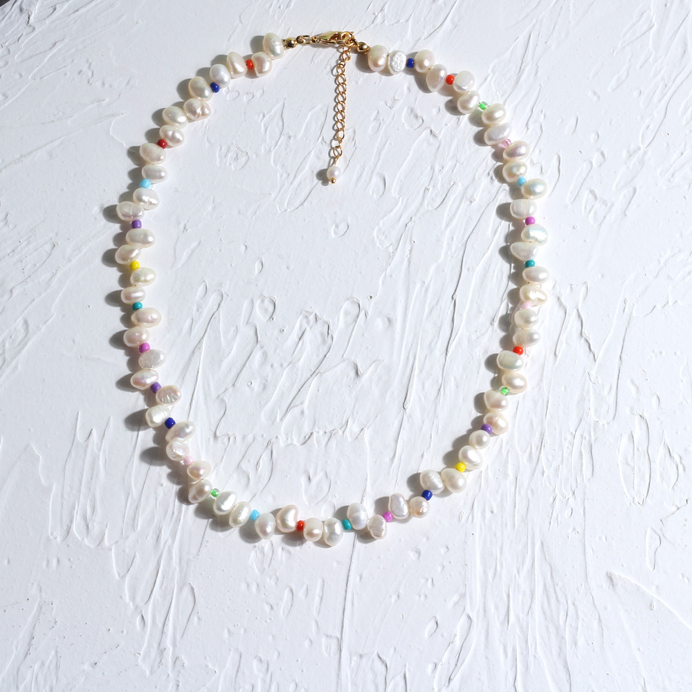 Hand-Made Mixed Color Beads Natural Freshwater Pearl Necklace