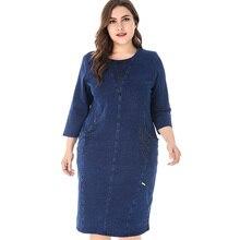 Miaoke bayan artı boyutu denim elbise kadınlar için yüksek kalite moda bayanlar Vintage zarif asil parti büyük boy sonbahar elbiseler