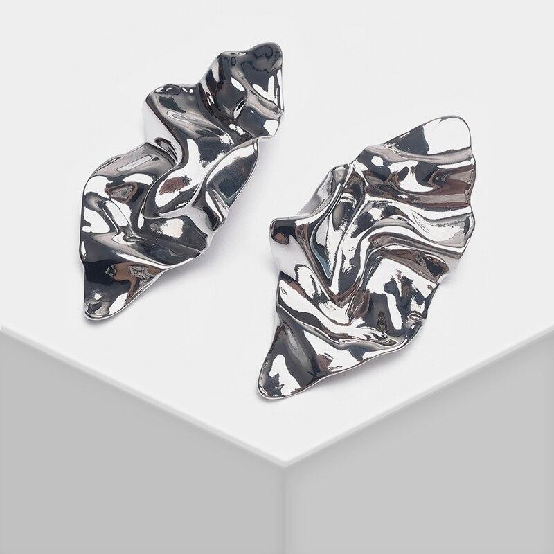 Prismatic design stylish simple pleated effect metal drop earrings