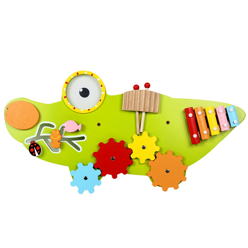 Colorful Children Wooden Baby Toy Wall Game Music toy Model Building Kits Educational toys Green crocodile Game for kid gear toy
