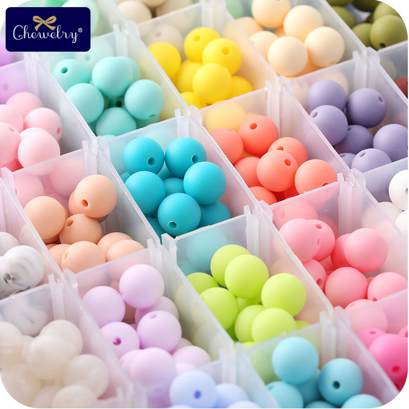 20pc Food Grade Silicone Beads 15mm Pearl Silicone Baby Teething Toys DIY For Pacifier Chain Teething Necklace Accessories