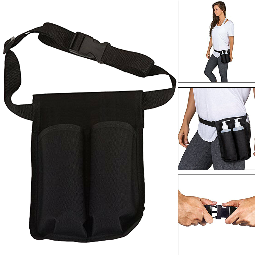 Adjustable Waist Pack Holder Dispenser Oxford Cloth Massage Bottle Holster Durable Essential Oil Double Heavy Duty Spa Lotion