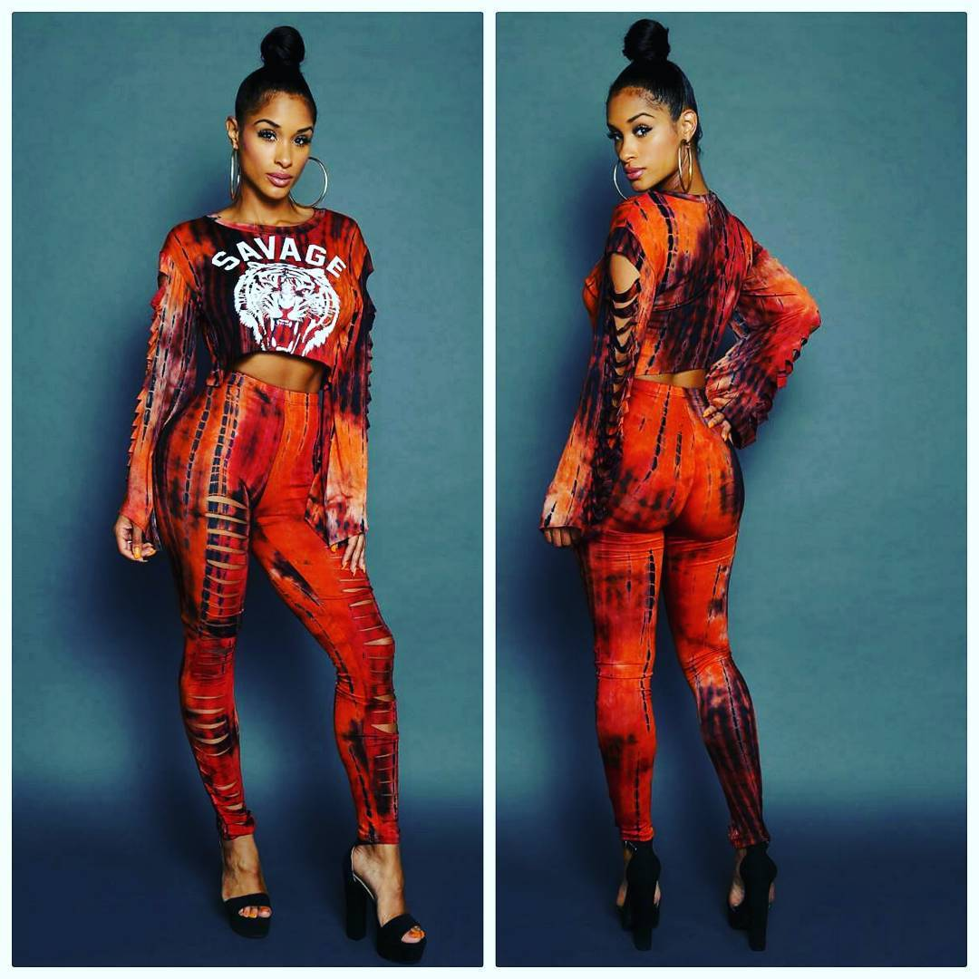 Y015 Classic Tiger Head WOMEN'S Dress 2018 New Style Europe And America Rock And Roll Sexy Long Sleeve Burning Flowers Set Two-P