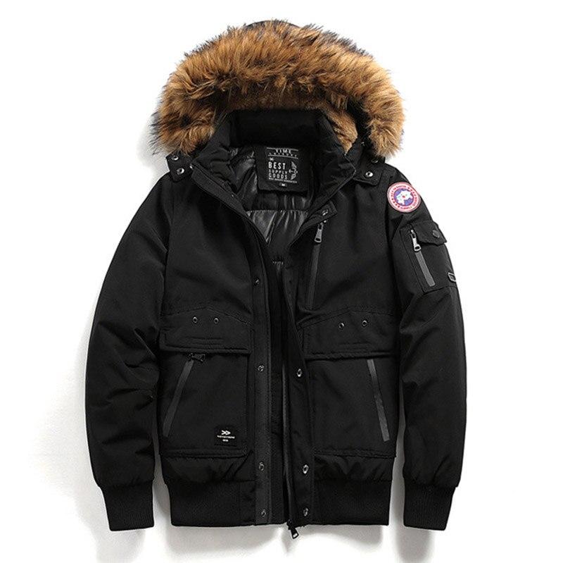 Zollrfea Canada Goode Brand Mens Winter Jacket Fur Collar Hooded Casual Male Coat Windproof Warm   Parkas   Veste Homme