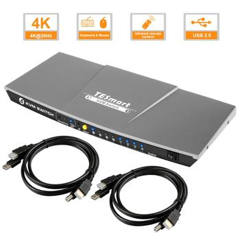 Russian delivery, Fast Ship 4x1 HDMI KVM Switch 4 In 1Out KVM 4 Ports HDMI Switch Sharing 4 PC Ultra HD 4k@30Hz 3D High Quality кабель kvm lenovo 3m msas hd to msas hd 00mj180