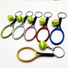 Моделирование мини теннис ракетка мяч брелок кулон сумка аксессуары для сумка спорт реклама брелок вентиляторы сувениры брелок кольцо
