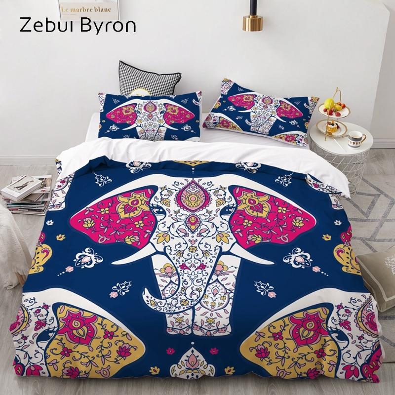 3D Bedding Set Custom/USA Queen/King/Europe,3PCS Duvet Cover Set,Quilt/Blanket Cover Set,Bed Set Mandala Elephant ,drop Shipping