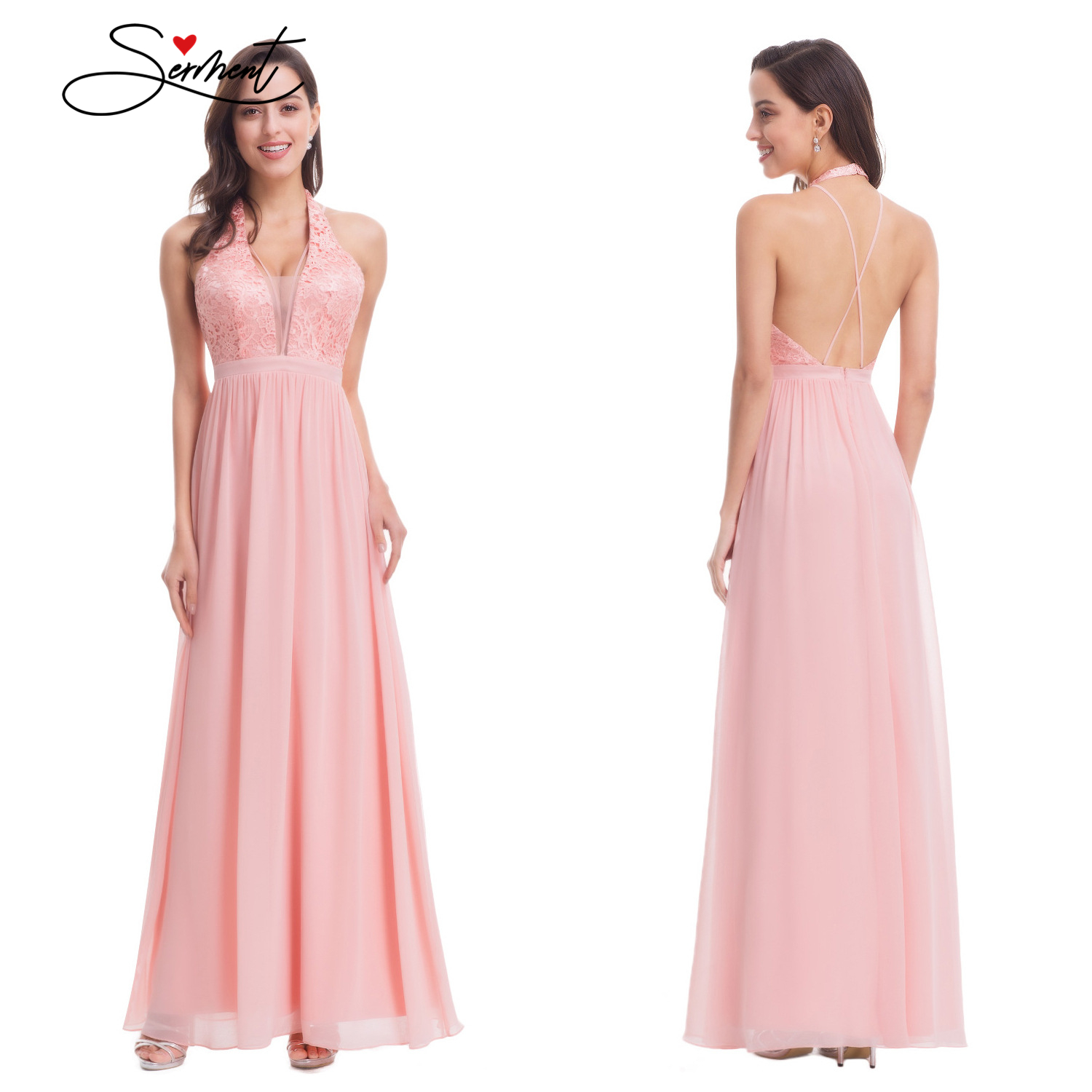 OLLYMURS New Elegant Woman Evening Gown Summer Chiffon Pure Color Lace Deep VSexy Pink Evening Dress Suitable For Formal Parties