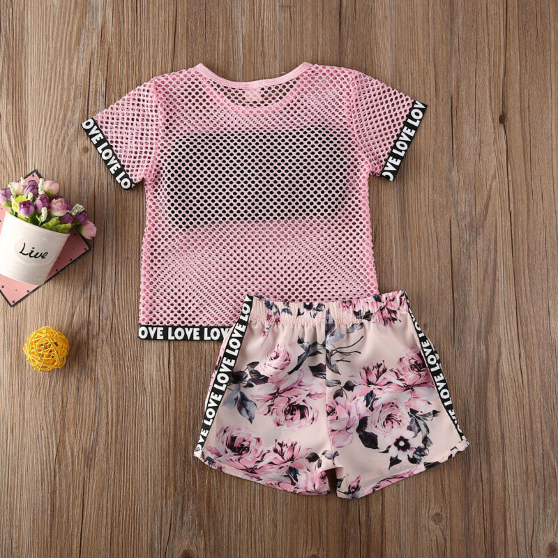 Summer Newborn Baby Girl Casual Grid Tops Floral Shorts Pants Clothes Outfit