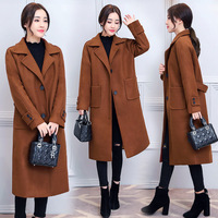 Caramel Color Overcoat Women's Mid length South Korea 2017 Autumn And Winter New Style Star Woolen Jacket Slimming over the Knee