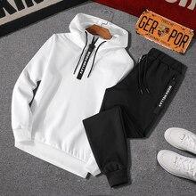 Male Sportswear Outfit Men Tracksuit 2pcs-Sets Pants Hoodies Loose Mens Autumn Spring