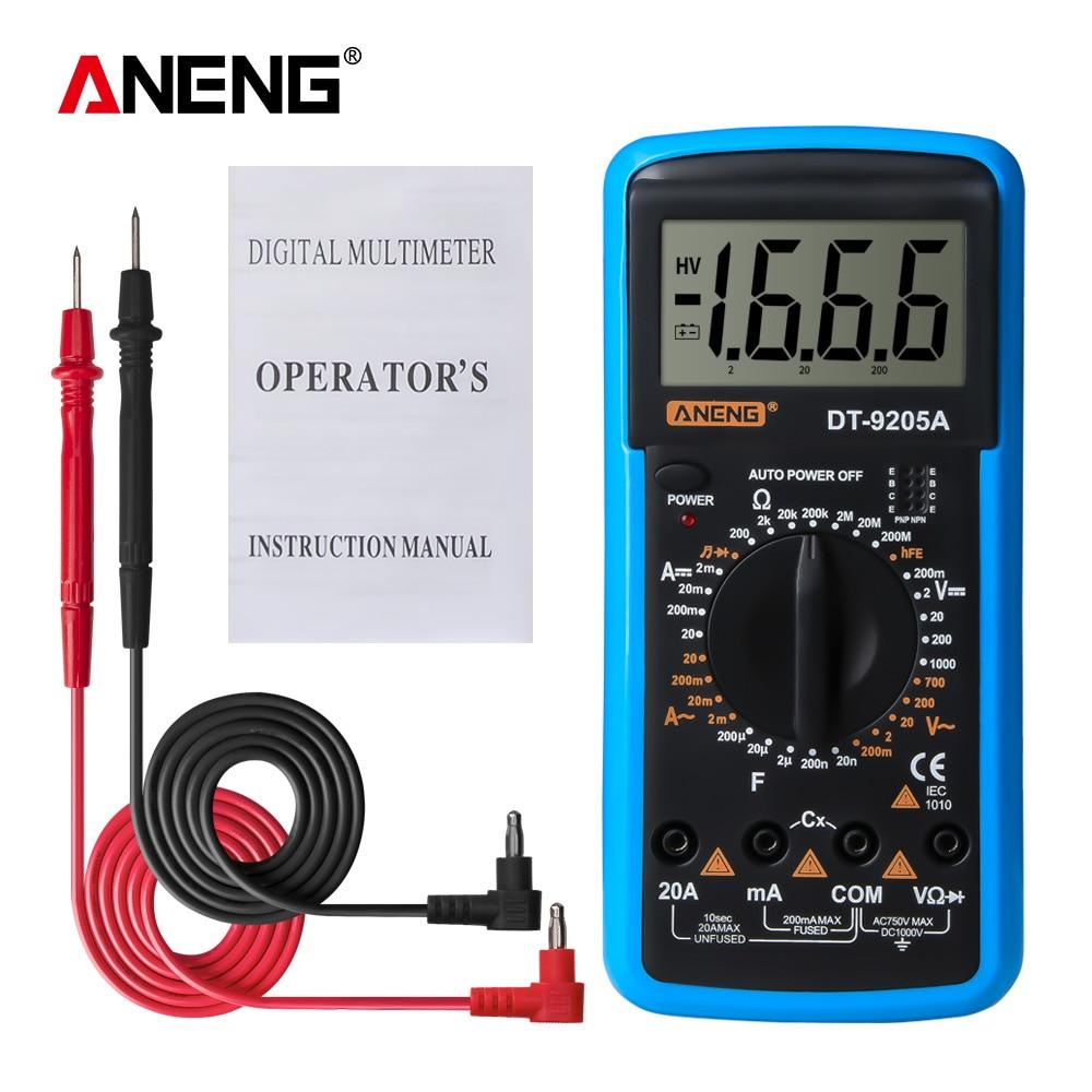 Цифровой мультиметр DT9205A DT9208A, ручной измеритель напряжения и сопротивления, емкости, переменного/постоянного тока, измеритель мощности