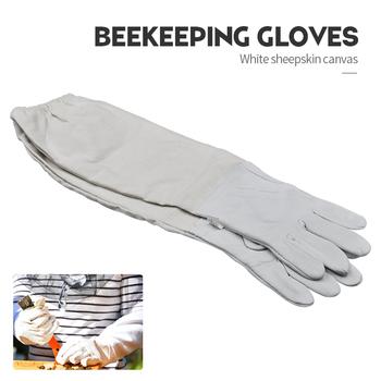 Pszczelarstwo rękawice ochronne rękawy wentylowane profesjonalne z owczej skóry i płótna przeciw pszczoła pszczoła dla pszczelarza tanie i dobre opinie Płótno sheepskin and canvas Beekeeping Gloves Beekeeping Tools Protector Beekeeping Supplies bee goatskin gloves