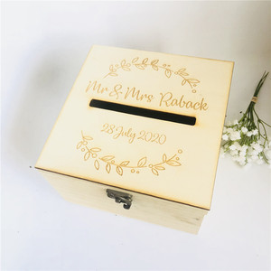 Image 2 - Personalised Bride and Groom Wedding Guests Wish Post Box with wreath Cards Envelopes Drop in Memory Wishing Well Wooden Box