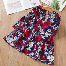 Spring Summer Children's Dress Child Girl Sleeveless Floral Printed Cotton and Linen Floral Dress Baby Girl Dress Girl(China)