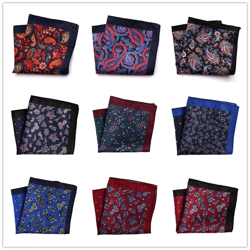 29 Colors Men's Handkerchief Pocket Square Men Floral Paisley Polyester Hankies Hanky Business Chest Towel Wedding Party