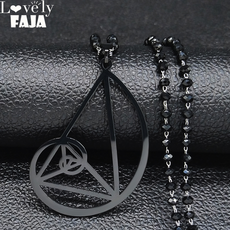 2019 Black Color Triangle Stainless Steel Necklace - <font><b>Fibonacci</b></font> - Ratio <font><b>Pendant</b></font> (3.5mm) size With 60cm Chain Jewelry N1935 image