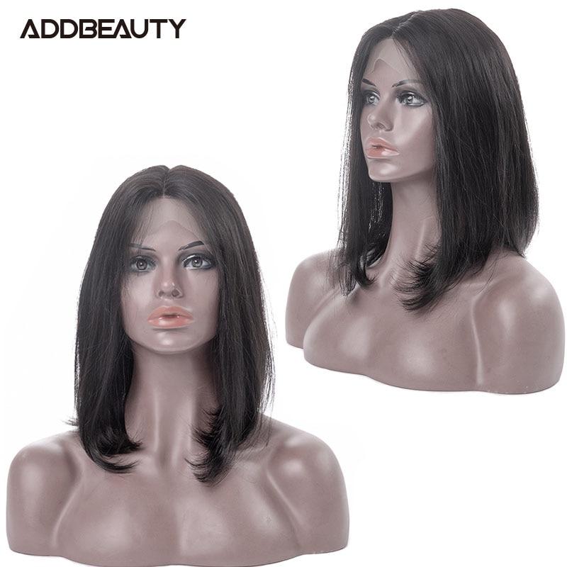 Бразильские 13x4 прямые короткие боб парик Addbeauty 13x6 Кружева передние парики для чернокожих Для женщин человеческих волос парики натуральный ...