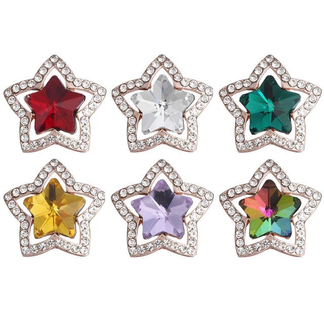 Colorful Rhinestone Snap Button Bracelet DIY Charms 5 pcs Set