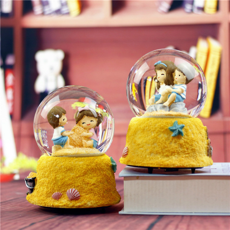 10*15.8cm Lovers Crystal Snow Globes <font><b>Glass</b></font> Music Box <font><b>snowball</b></font> Home Office INterior Decoration Christmas Valentine's Day Gifts image