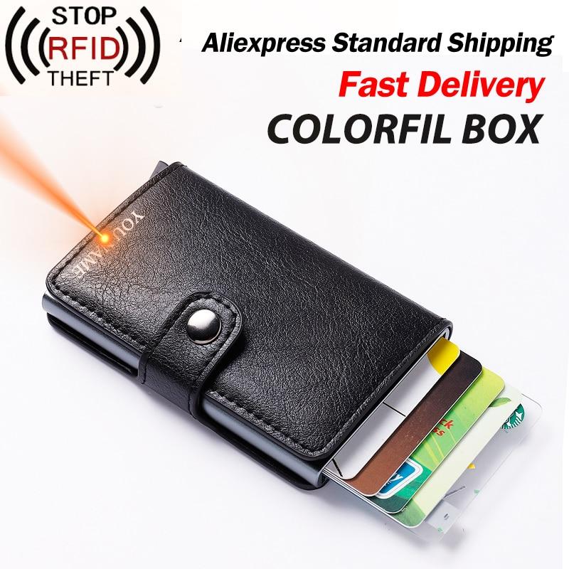 Colorful Box Men Credit Card Holder Women Metal RFID Wallet Aluminium Male Cardholder Business ID Card Holder Leather Men Purse