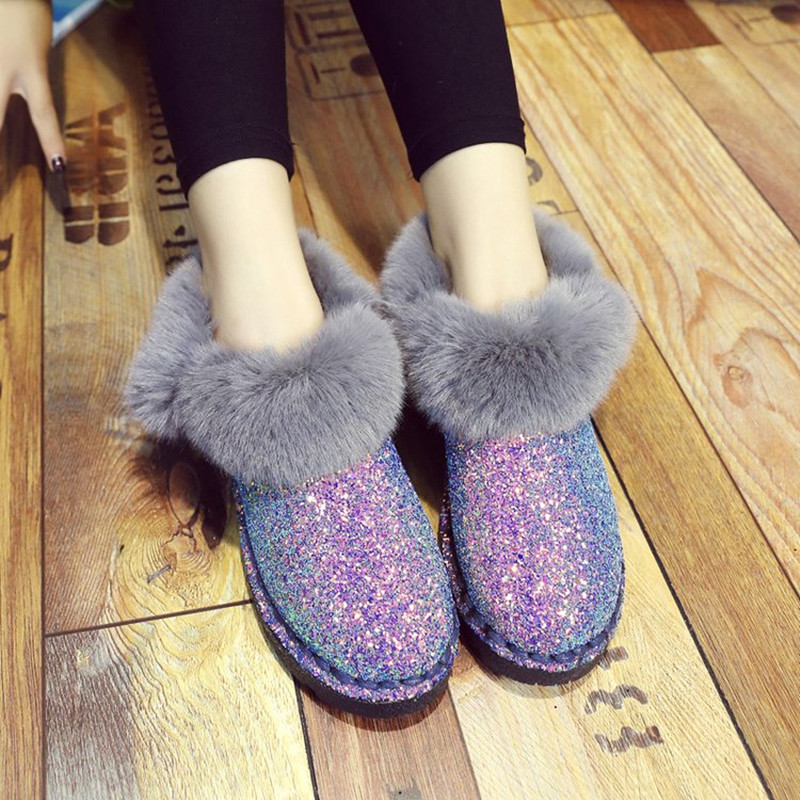 2019 New Winter Women Sequins Snow Boots Fashion Thicken Plush Shiny Cotton Shoes Thick Bottom Non-slip Warm Ankle Boots 36-41 13
