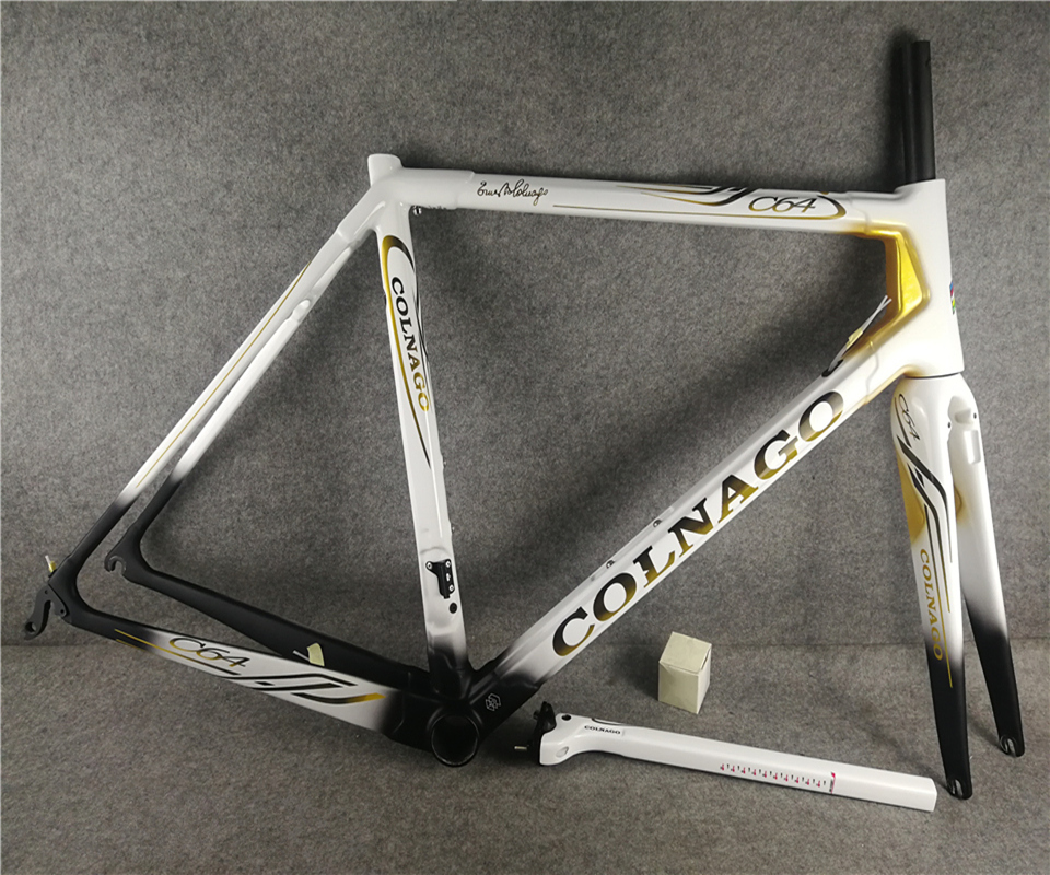 2019 New Arrival White Black Gold T1100 UD Glossy Colnago C64 Carbon Road Frames Frameset With 48/50/52/54/56cm For Selection