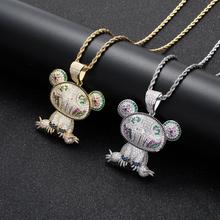 The new hip-hop necklace color frog micro-set zircon pendant hip-hop jewelry american cartoon emojis hold guns personality pendant set with zircon hip hop double color necklace accessories