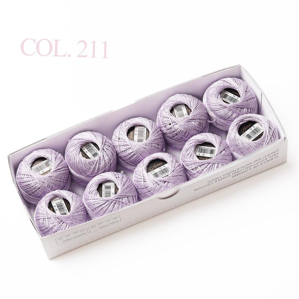 10 коробка с шариками Размер 8 жемчуг Хлопок нитки для вязания 43 ярдов двойная Мерсеризация длинный штапель из египетского хлопка 79 DMC цвета - Цвет: 211