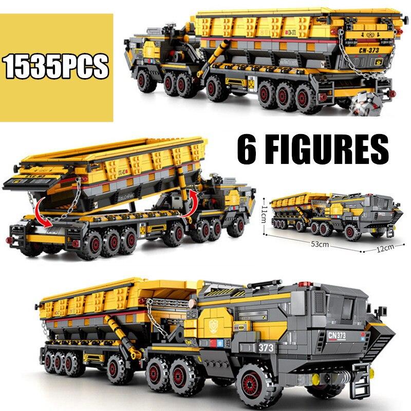 New MOC Bucket Carrier Vehicle Headstock Truck Fit Legoings Technic SWAT City Military Building Block Bricks Toys Children