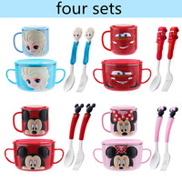 Disney Cartoon Mickey Minnie Lunch Box Stainless Steel Baby Bowl Sets Child 3D Spoon Fork Sets Pupil Feeding Tableware Plate