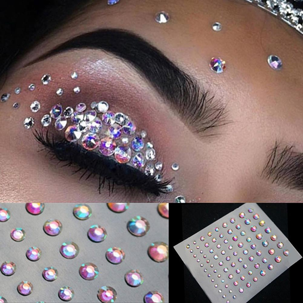 Face Makeup Temporary Glitter Eyes Tattoo Stickers Body Face Jewels Crystal DIY Rhinestone Decor Festival Party Body Glitter