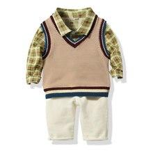 Новая одежда для маленьких мальчиков комплект из 3 предметов: рубашка в клетку с длинными рукавами+ жилет без рукавов+ Брюки Повседневная одежда