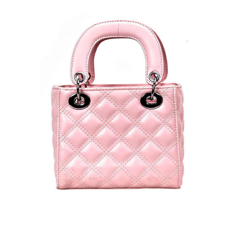 موضة جديدة لؤلؤة المرأة حقيبة يد صغيرة مربع سلسلة منقوشة الأم والطفل حمل حقيبة الإناث العلامة التجارية تصميم الكتف حقيبة كروسبودي