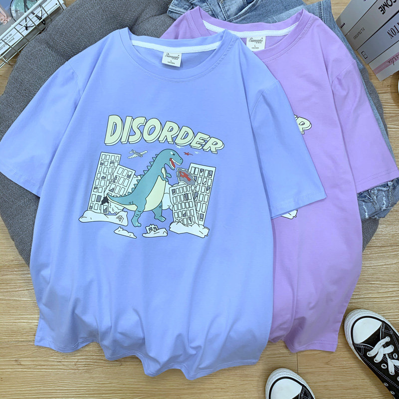 90% Cotton Summer Basic Women Shirts Plus Size Dinosaur Pink Oversized Tees Harajuku Korean Style Simple Tops Female TYD03