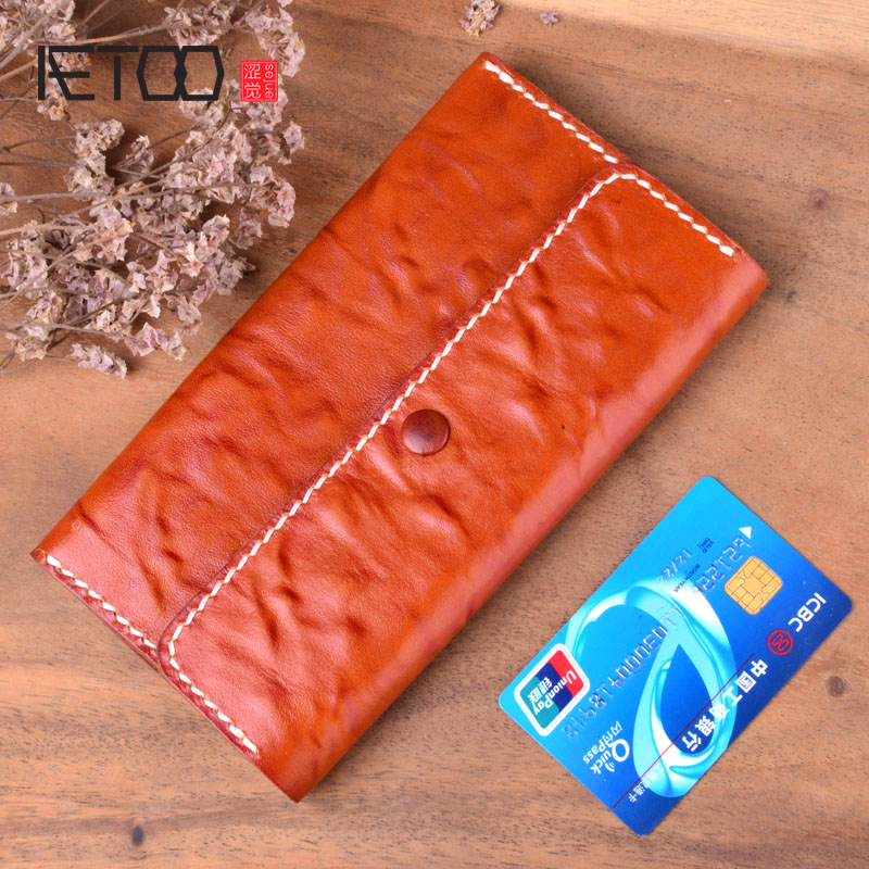 AETOO Vintage old handmade long wallet men\'s and women\'s leather wallet first layer leather clutch bag