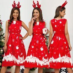 Plus Size Woman Vintage Dress Santa Christmas Retro Xmas Printed O-Neck Sleeveless Swing Dress Sexy Women Clothing Hot 2