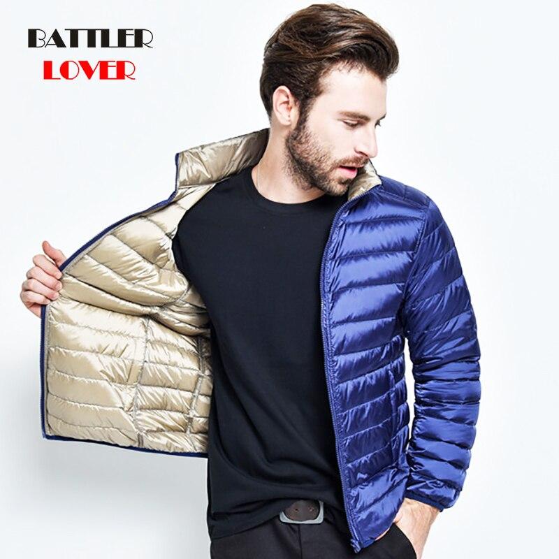 2019 New Two Side Wear Mens Ultralight Jacket Casual Winter White Duck Down Windbreaker Overcoat Warm Parka Males Coat Outerwear
