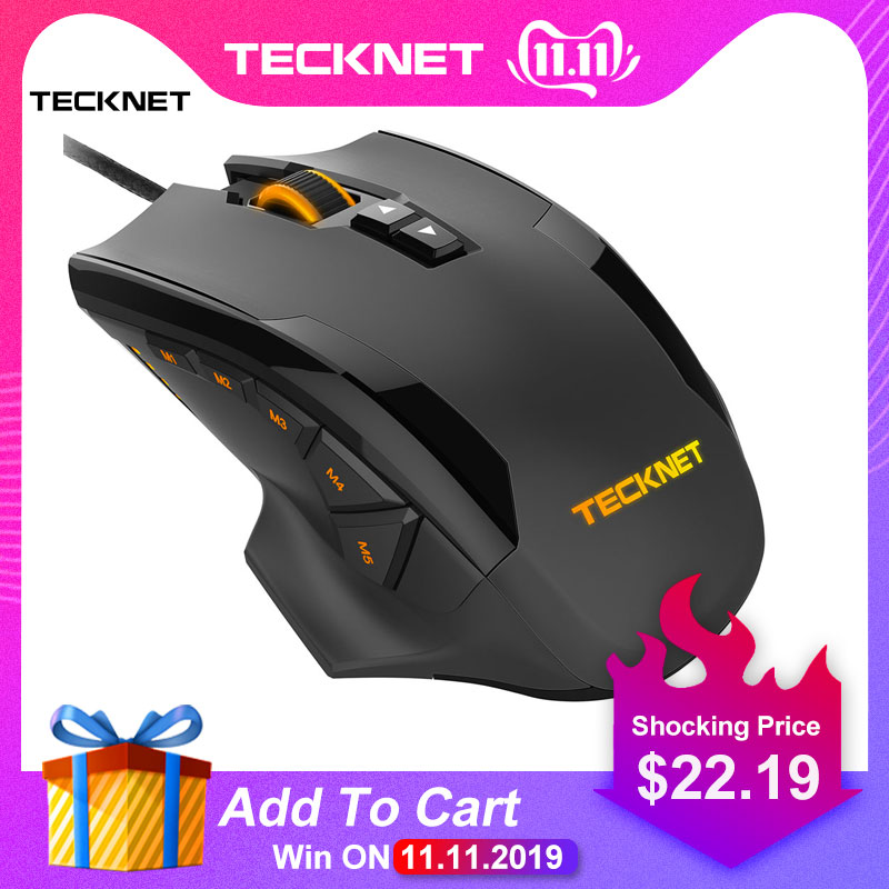 TeckNet HYPERTRAK High Precision Programmable Laser Gaming Mouse 16400 DPI 10 Buttons Weight Tuning Cartridge Mice