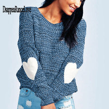 Disappearancelove Autumn Winter Women Sweaters Pullovers Long Sleeve Sweater Slim Heart Knitted Jumpers Sueter Mujer