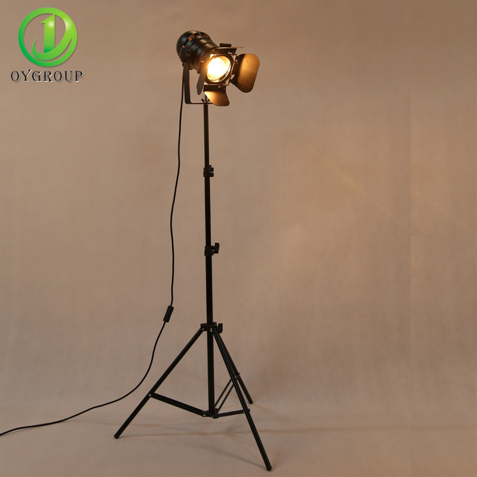OYGROUP Antique Style Floor Lamp Black Tripod Iron Brightness Adjustable Height Lights For Living Room Reading No Bulb
