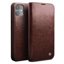 QIALINO Echtes Leder Flip Fall für iPhone 11/11 Pro Max Handarbeit Telefon Abdeckung mit Card Slots für iPhone 12 Mini/12 Pro Max