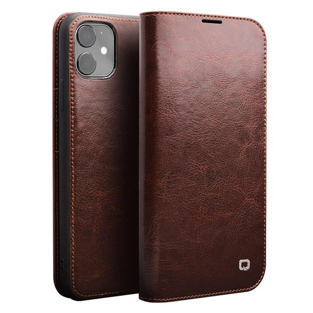 QIALINO Чехол книжка из натуральной кожи для iPhone 11/11 Pro Max, чехол для телефона ручной работы с отделениями для карт для iPhone 12 Mini/12 Pro Max