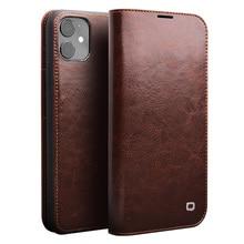 Qialino genuíno caso da aleta de couro para o iphone 11/11 pro max feito à mão telefone capa com slots de cartão para o iphone 12 mini/12 pro max