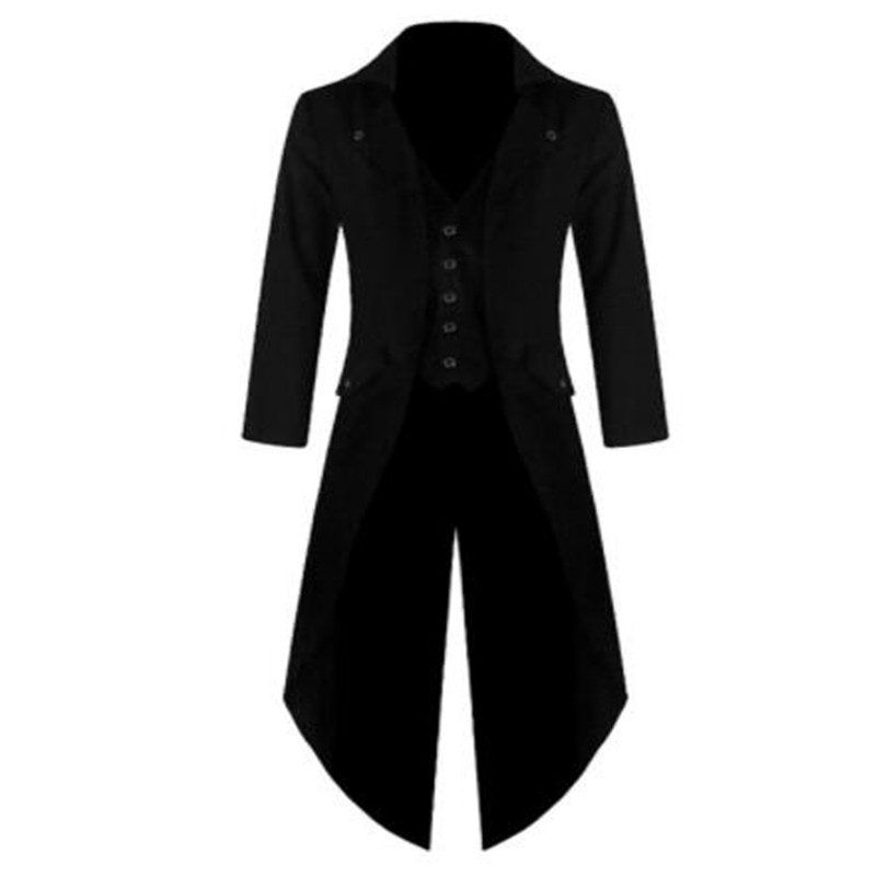 Mens Coat Vintage Tailcoat Jacket Long Sleeve Steampunk Retro Single Breasted Gothic Victorian Frock Coat Plus Size 4XL